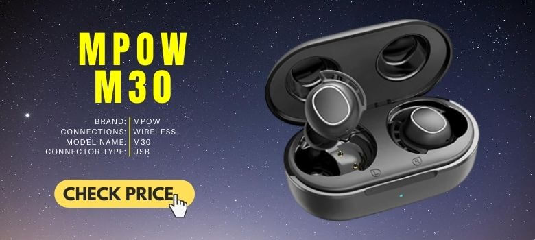 1. Mpow M30 Bluetooth Earphones Bluetooth Touch Control 25 Hours Battery