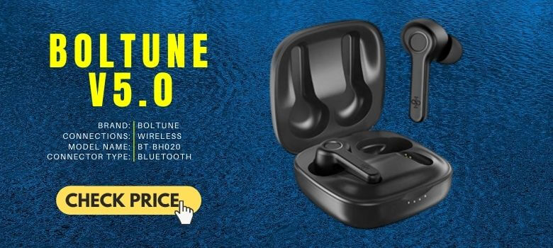 3. Boltune Bluetooth V5.0 In Ear Stereo [upgraded] Cheap Earbuds Builtin Mic 40 Hours Battery