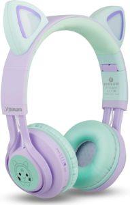 1 Riwbox Ct 7s Cat Ear Bluetooth Wireless Headphones For Kids Purplegreen