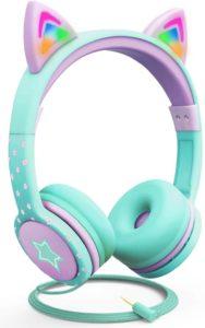 2. Fospower Kids Headphones With Led Light – Teallight Purple
