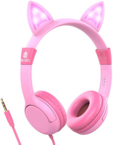 3. Iclever Safe Wired Kids Headsets Pink