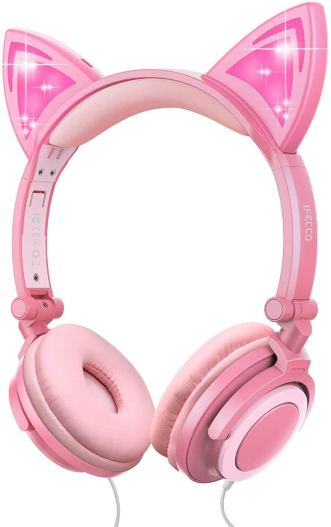 6. Kids Headphones Cat Ear On Ear Headphones Peach