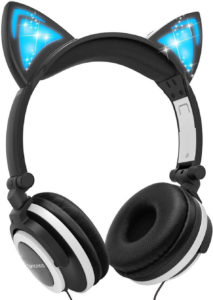 9. Barsone Wired Foldable On Ear Headsets With Led Glowing Light Black