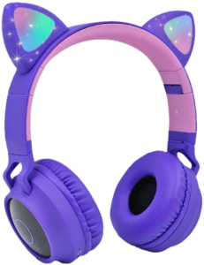 purple Wireless cat ear headphone with mic