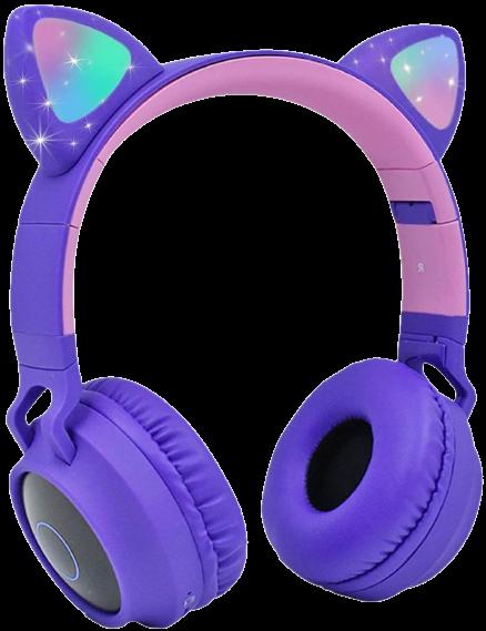 purple cat ear headphone with mic