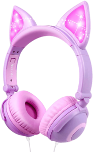 barsone wired foldable on ear headsets with led glowing light