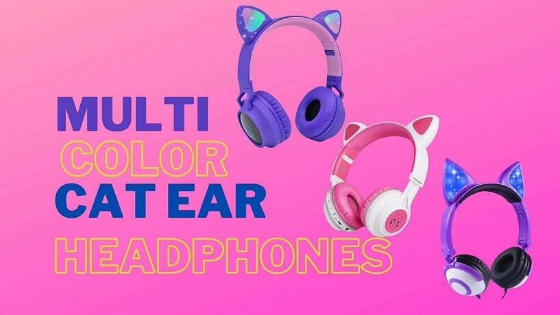pink purple multicolor cat ear headphones