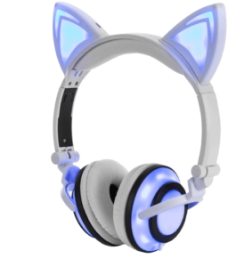 wired cat ear headphones glowing lights with usb charging cable