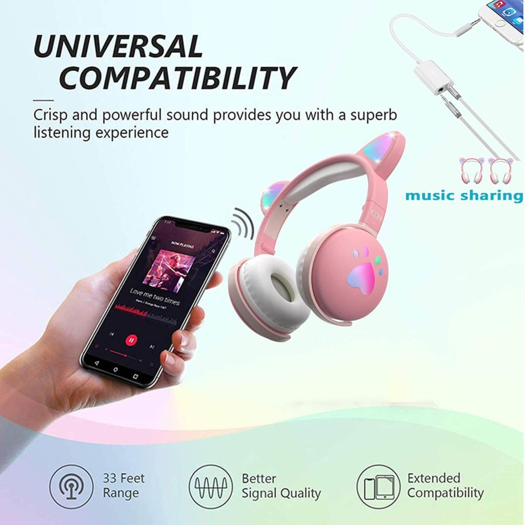 aresrora kawaii cat ear universal headphones
