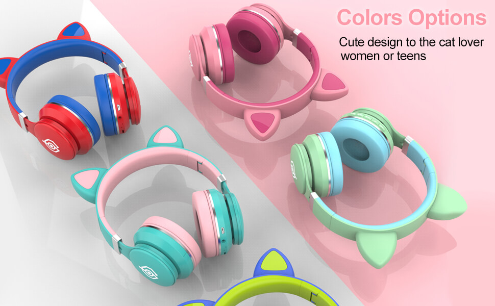 cat ear multicolor headphones for girls and kids