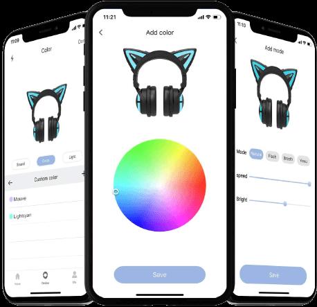 yowu version up 3s cat ear multicolor headphones