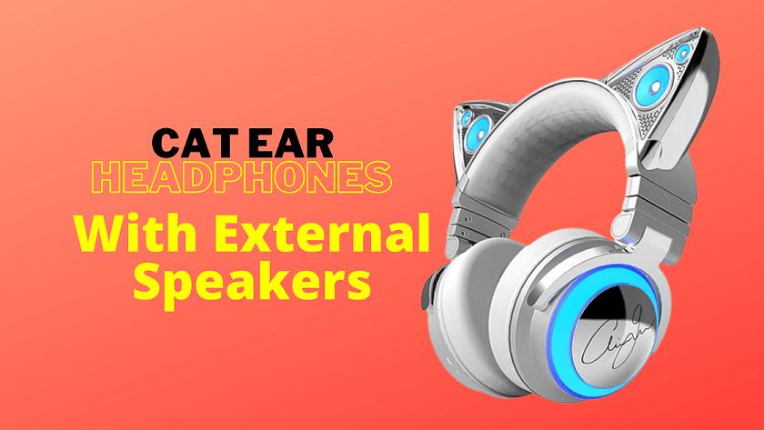 cat ear headphones with external speakers