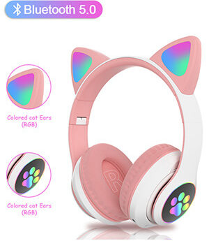tcjj wireless cat ear led bluetooth headphones with mic