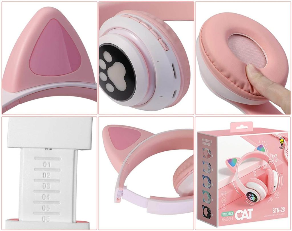 tcjj wireless cat ear led headphones cool features and specifications