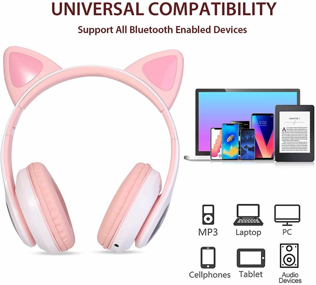 tcjj wireless cat ear led headphones compatible with all devices