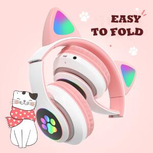 tcjj wireless cat ear led headphones foldable earphones