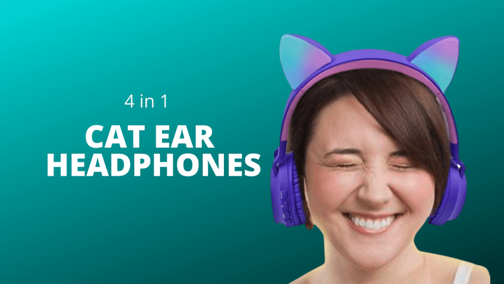 4 in 1 cat ear over ear wireless headphones with microphone