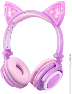 lobkin cat ear Pink wired headphones for kids